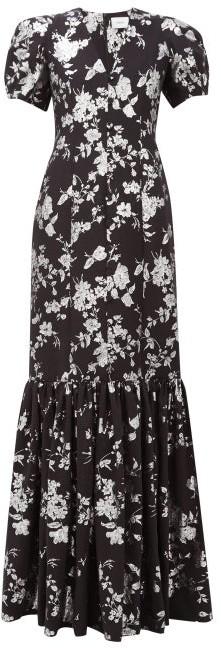 Erdem Rosetta Puff-sleeved Floral-brocade Gown - Black Silver
