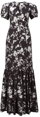 Erdem Rosetta Puff-sleeved Floral-brocade Gown - Black Silver