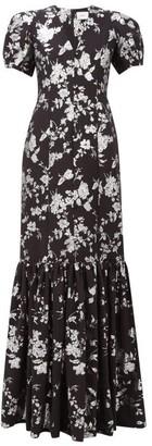 Erdem Rosetta Puffed-sleeve Floral-brocade Gown - Womens - Black Silver
