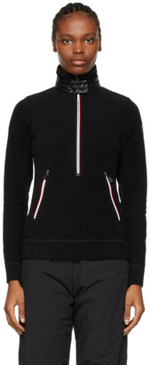 MONCLER GRENOBLE Black Zip Mock Polo Neck Guard Sweatshirt