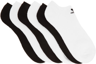 adidas Six-Pack White and Black Low Cut Socks