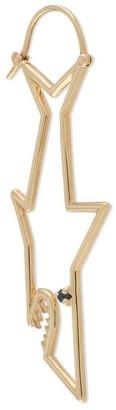 ALIITA 9kt Yellow Gold Sapphire Shark Earring