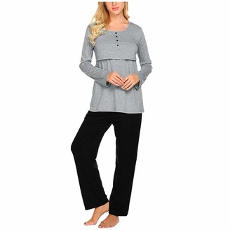 Arestory Womens Maternity Pajamas Set Ladies Long Sleeve Nursing Baby Nightgown T-Shirt Tops+Pants Suit Pregnant Stretch Nightshirt Casual Sleepwear Lounge Wear Loose Pregnancy Cloth Plus Size Gray