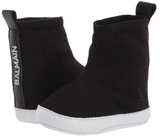 Balmain Kids Soft Sole Sock Sneakers w/ Logo (Infant/Toddler) (Black) Kid's Shoes