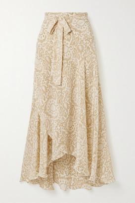 Hannah Artwear - Capri Floral-print Silk Crepe De Chine Wrap Skirt - Cream