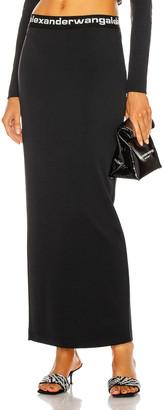 Alexander Wang Logo Elastic Fitted Long Skirt in Black   FWRD
