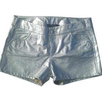 Non Signé / Unsigned Non Signe / Unsigned Silver Leather Shorts for Women