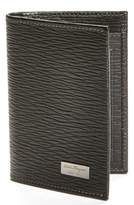 Salvatore Ferragamo Men's Stamped Calf Card Wallet - Black