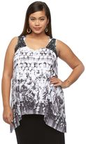 Apt. 9 Plus Size Printed Crochet-Trim Top