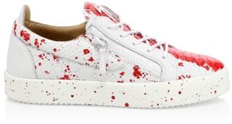 Giuseppe Zanotti Low-Top Leather Splash Paint Sneakers