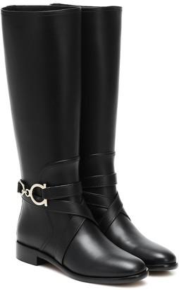 Salvatore Ferragamo Gancini knee-high leather boots
