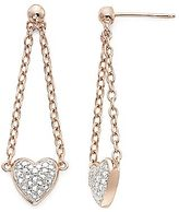 JCPenney Two-Tone Diamond-Accent Heart Dangle Earrings