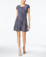MICHAEL Michael Kors Printed Cutout-Neck Fit & Flare Dress