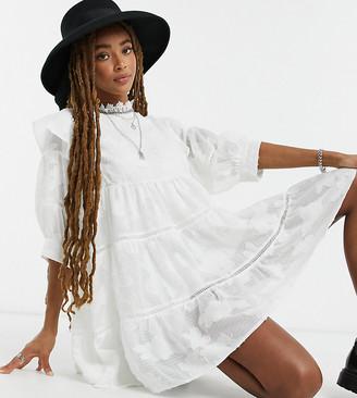 Ebonie N Ivory Tiered Mini Smock Dress In Tonal Floral