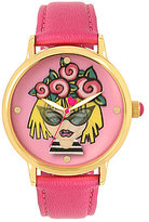 Betsey Johnson Roses Emoji Analog Leather-Strap Watch