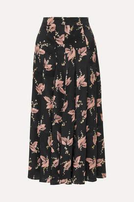 Co Pleated Floral-print Silk-satin Midi Skirt - Black