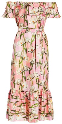 Borgo de Nor Agata Silk Floral Off-the-Shoulder Midi Dress