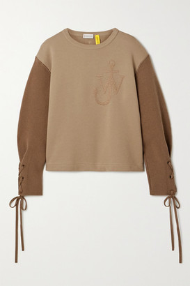 MONCLER GENIUS + 1 Jw Anderson Two-tone Embroidered Cotton-jersey And Wool Top - Light brown