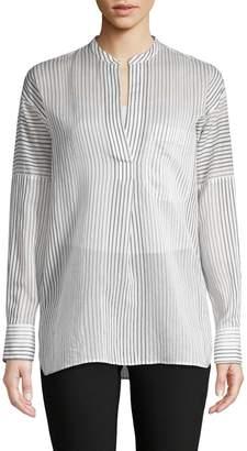 Vince Striped Cotton & Silk Shirt