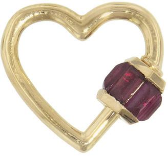 Marla Aaron Baby Baguette Total Baguette Ruby Heart Lock - Yellow Gold