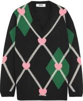 MSGM Intarsia Wool-blend Sweater - Black
