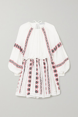 Rue Mariscal - Embroidered Cotton And Silk-blend Gauze Mini Dress - White