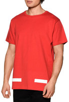 Off-White Brushed Lines Short-Sleeve Graphic T-Shirt, Red/White