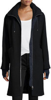 Bogner Flavia Long Zip-Front Wool Coat, Navy