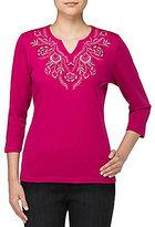 Allison Daley Floral Embroidered Notch V-Neck Knit Top