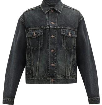 Balenciaga Logo-embroidered Back Washed Cotton-denim Jacket - Blue