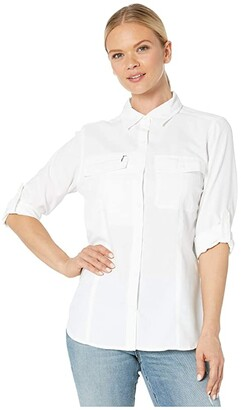 Royal Robbins Bug Barrier Expedition Dry Long Sleeve Shirt (White) Women's Long Sleeve Button Up