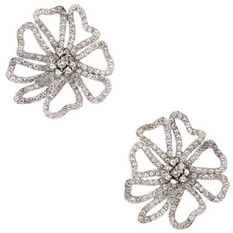 Oscar de la Renta Swarovski Crystal Cutout Flower Earrings