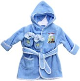 SpaSilk 100% Cotton Hooded Terry Bathrobe with Booties - Blue Train