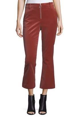 Frame Denim High Waisted Velvet O-Ring Flare Pants Orange