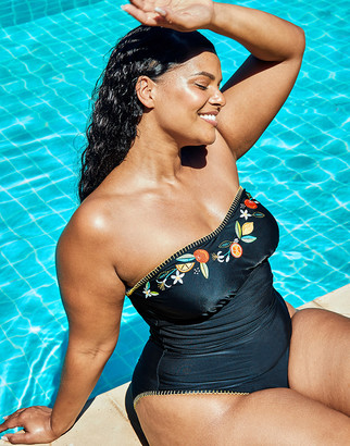 Figleaves Seville Curve Non-Wired Embroidered Black Strapless Bandeau Tummy Control Swimsuit
