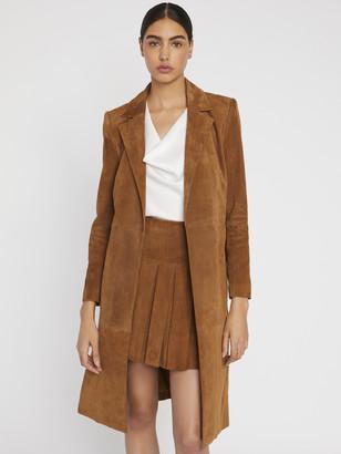 Alice + Olivia Karley Suede Flare Coat