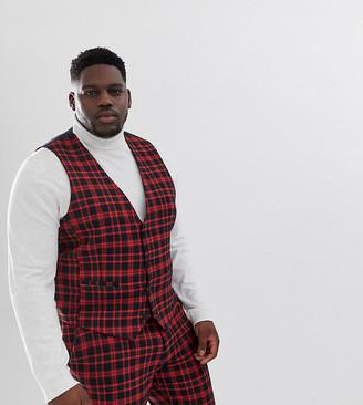 ASOS DESIGN Plus super skinny suit vest in red plaid check
