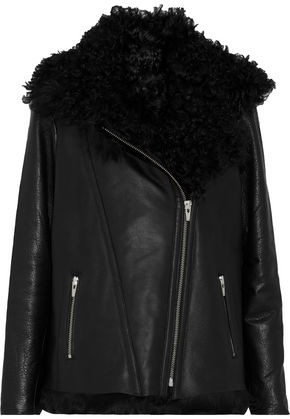 Veda Denver Shearling-lined Leather Biker Jacket