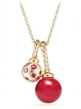 David Yurman Solari Pendant Necklace In 18K Gold With Cherry Amber