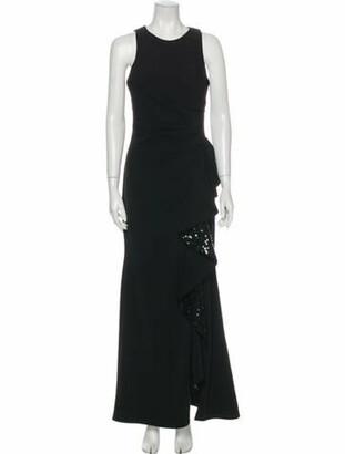 Carmen Marc Valvo Crew Neck Long Dress Black