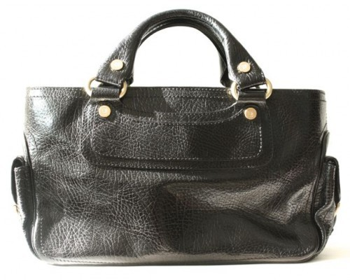 Celine very good (VG Black Leather Classic Boogie Bag Tote