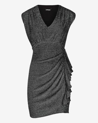 Express Metallic Cap Sleeve Ruched Side Sheath Dress