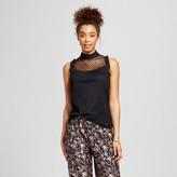 3Hearts Women's Illusion Dot Mock Neck Flutter Sleeve Top - 3Hearts (Juniors')