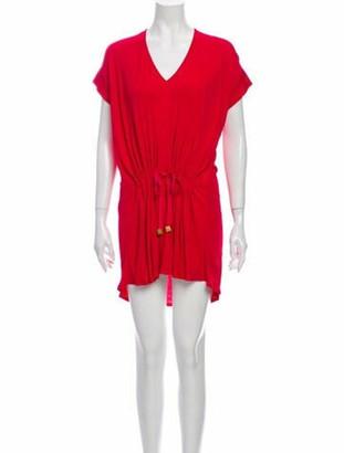 Vionnet V-Neck Mini Dress Red