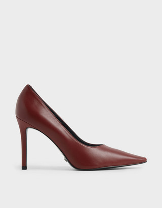 Charles & Keith Leather Pointed Toe Stiletto Pumps