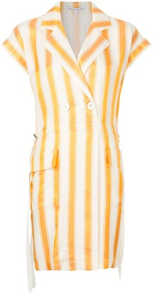 Comme Moi Striped Double Breasted Blazer