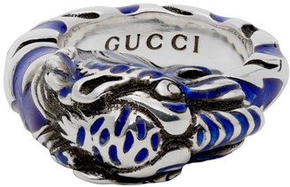 Gucci Silver and Blue Tiger Ring