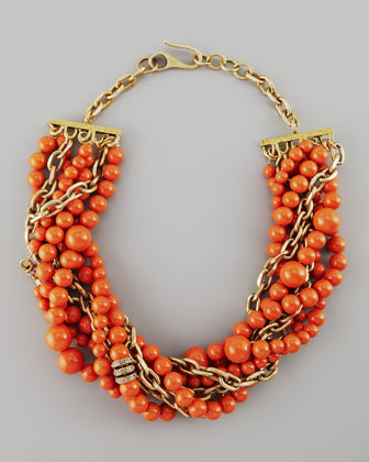 Paige Novick Julie 7-Strand Howlite Beaded Necklace, Coral