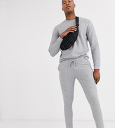 Asos Design DESIGN Tall ribbed tracksuit in gray marl