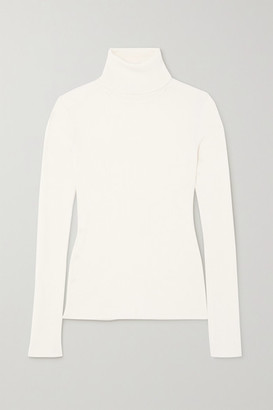 Salvatore Ferragamo Cashmere, Wool And Silk-blend Turtleneck Sweater - Cream